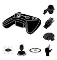 a virtual reality black icons in set collection vector image