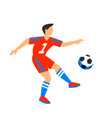 abstract in red football player with ball soccer vector image vector image