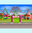 amusement park scene at daytime with many rides vector image