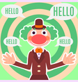 Background with happy greeting clown in costume vector image vector image