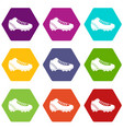 baseball cleat icon set color hexahedron vector image vector image