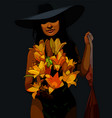 beautiful woman in a hat and with a bouquet of vector image