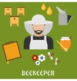 Beekeeper profession and beekeeping flat icons vector image vector image
