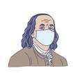ben franklin in medical mask hand drawn vector image vector image
