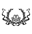 Black and white foliate wreath with a ribbon vector image