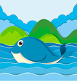 Blue whale swimming in the ocean vector image vector image