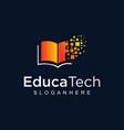 book digital tech logo design education vector image vector image