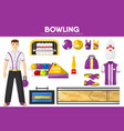 bowling sport equipment bowler player garment vector image vector image