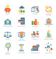business financial icons set flat style vector image