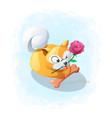 cartoon cute dog bite flower vector image vector image