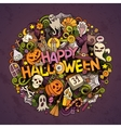 Cartoon cute doodles Halloween inscription vector image