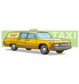 cartoon yellow retro long taxi car icon vector image vector image