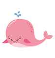 cute amusing pink whale prints image vector image vector image
