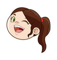 cute face girl child laughing funny image vector image vector image