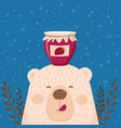 cute retro hand drawn card as funny bear with jam vector image