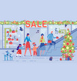 family buy presents for christmas at shopping mall vector image vector image