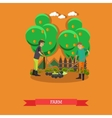 Farm concept in flat style vector image vector image