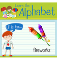 Flashcard letter F is for fireworks vector image vector image