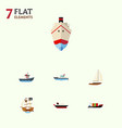 flat icon ship set of vessel transport yacht and vector image
