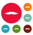 flat mustache icons circle set vector image