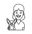 girl with dog cartoon vector image