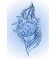 Graphic mermaid head vector image vector image