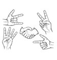hand drawn fingers gesture set vector image vector image