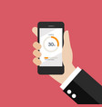 hand holding smartphone with circle loading vector image vector image