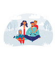 happy family enjoying picnic characters vector image vector image
