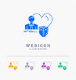 insurance family home protect heart 5 color glyph vector image