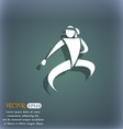 Karate kick icon On the blue-green abstract vector image