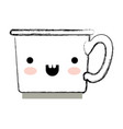 kawaii coffee cup in monochrome blurred silhouette vector image