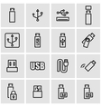 line usb icon set vector image vector image