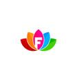 lotus letter f logo icon design vector image