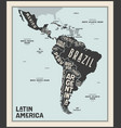 map latin america poster map latin america vector image vector image