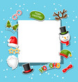 merry christmas card with photo booth stickers vector image vector image