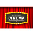movie theater advert in light bulb frame 3d banner vector image