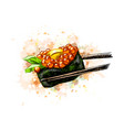 red caviar gunkan sushi from a splash of vector image vector image