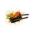 red caviar gunkan sushi from a splash of vector image vector image