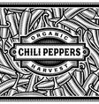 Retro Chili Pepper Harvest Label Black And White vector image vector image