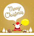 santa claus jumping on snowdrift in town vector image