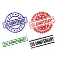 scratched textured 100 anniversary stamp seals vector image