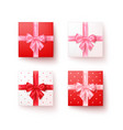 set gift boxes with silk bows in realistic vector image vector image