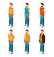 set isometric men icons vector image