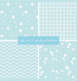 set of 4 cute retro blue patterns and textures vector image vector image