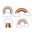 set rainbow and clouds icons vector image vector image