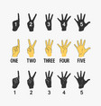 set symbols counting hands vector image vector image