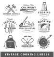 set vintage cooking labels vector image
