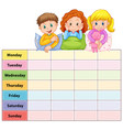 seven days of the week table with kids in pajamas vector image vector image