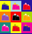 shopping bags sign pop-art style colorful vector image vector image